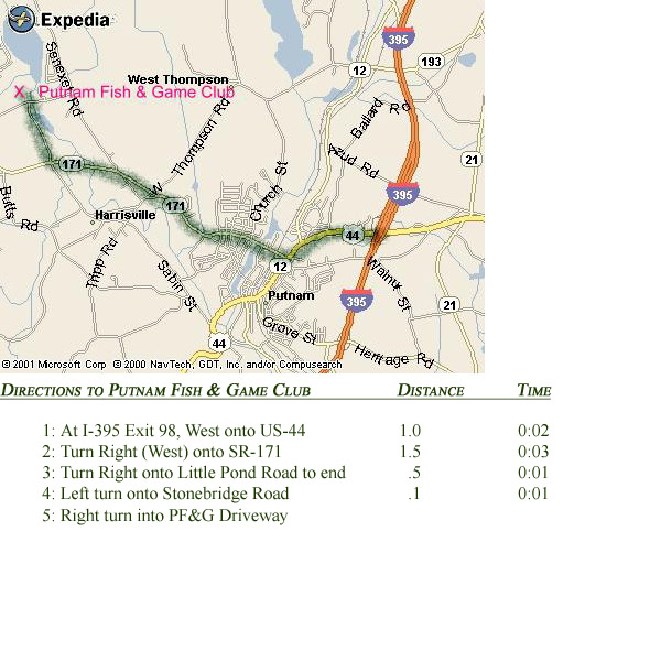 Directions putnam fish and game club for Ct fish and game